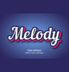 melody typography text effect vector image
