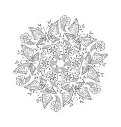 Mendie Mandala with butterflies on meadow vector image