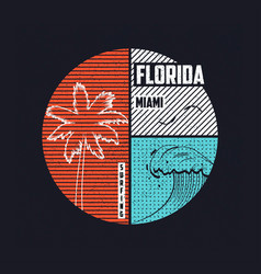 miami florida t-shirt trendy design with wave and vector image