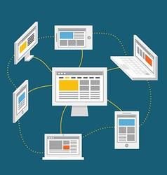 Modern digital network abstract scheme vector