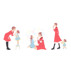 mother and daughter characters set on white vector image