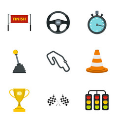Motor race icons set flat style vector
