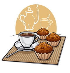 Muffin and coffee vector