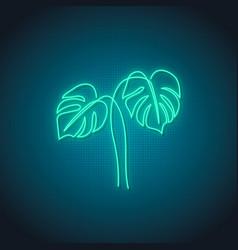 Neon monstera leaf sign glowing monstera leaves vector