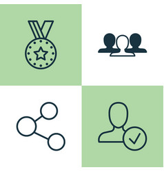 Network icons set collection of publication vector