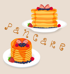 Pancakes with berries honey piece of butter vector