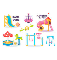Playground for kids set with slide and swing vector