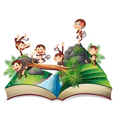 Pop-up book with monkeys vector