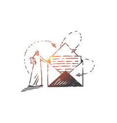Postal service correspondence concept sketch vector
