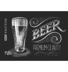 Poster of beer on the chalkboard vector