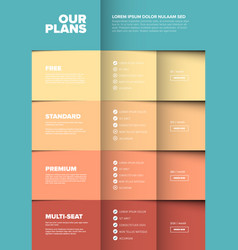 Products versions feature and price list table vector