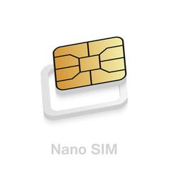 Realistic esim to nano sim card adapter phone sim vector