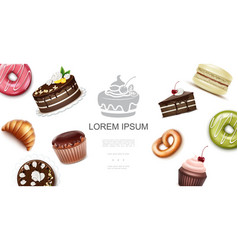 realistic sweet and baking products template vector image