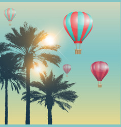 red air balloons and palms vector image
