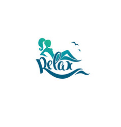 Relax logo template image of girl sea and vector