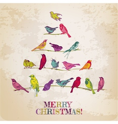 Retro Christmas Card - Birds on Christmas Tree vector