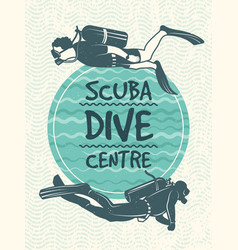 Retro poster for sport club of diving vector