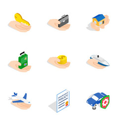 Risk icons isometric 3d style vector