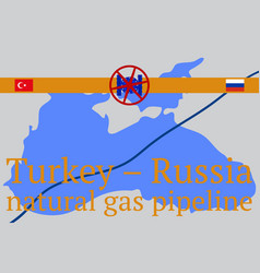 russian - turkish transit gas pipeline vector image