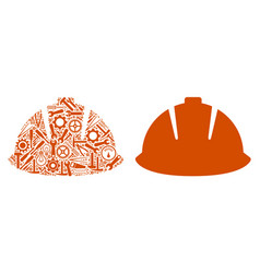 safety helmet collage of service tools vector image