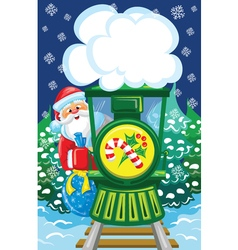 Santa goes by christmas train vector