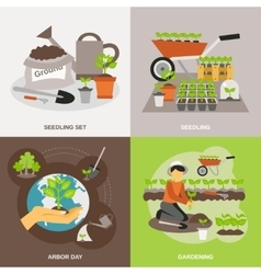 Seedling Flat Set vector