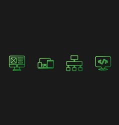 Set line site map ui or ux design monitor vector
