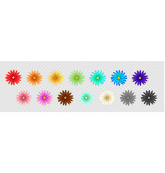 Set of simple flowers of different colors vector