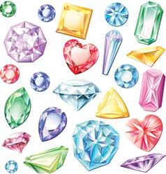 Set precious stones different cuts and vector
