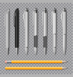 Set realistic office pens and pencil isolated vector