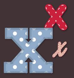 set stitched font - letter x vector image