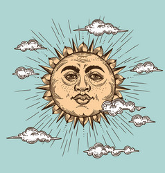 Set sun moon and crescent hand drawn vector