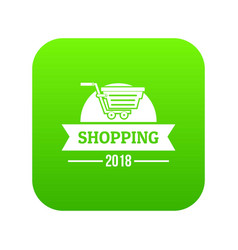 shopping icon green vector image