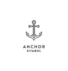 simple mono line art anchor boat ship logo vector image