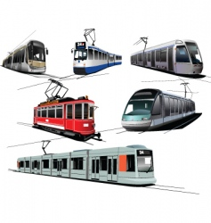 Six trams vector