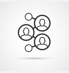 social network flat line trendy black icon eps10 vector image