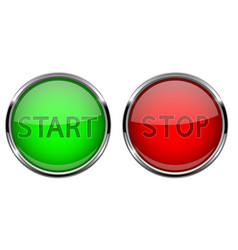 Start and stop glass buttons round shiny green vector