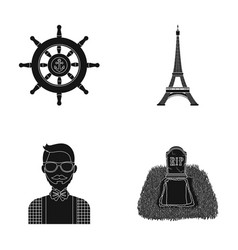 Steering wheel eiffel tower and other web icon in vector