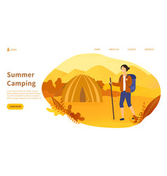 summer camping concept with woman hiking in desert vector image