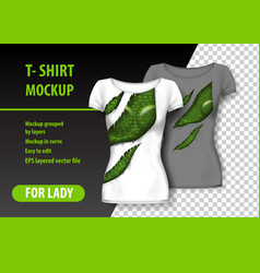 T-shirt template fully editable with torn clothes vector
