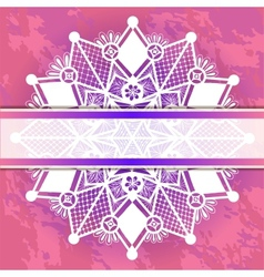 Template frame for card with lace snowflake vector image vector image
