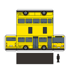 The paper model of a yellow small bus vector