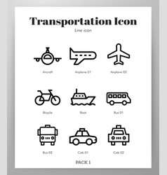 transportation icons line pack vector image