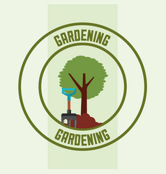 tree and pitchfork tool label gardening image vector image