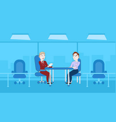two business men interview meeting for vacancy vector image