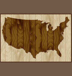 usa map on wood background vector image