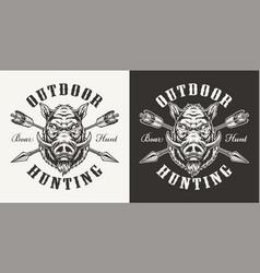 vintage boar hunting label vector image