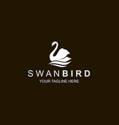 white swan icon vector image