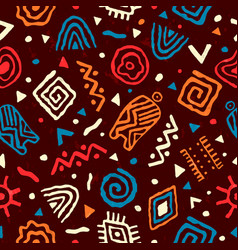 wild boho seamless pattern with african art vector image
