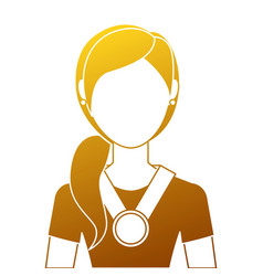 woman with winner medal character vector image